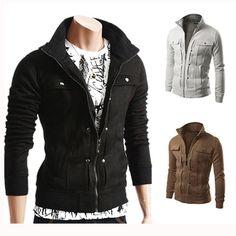 Men's Outwear New Tops Stand Collar Jacket Military Slim Fit Coat Autumn Blazer Fall Jackets, Outerwear Jackets, Casual Jackets, Men's Jackets, Casual Tops, Men Casual, Fall Blazer, Tracksuit Jacket, Mens Sweatshirts