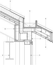 Gutter Detail 1 curtain wall with integrated wood grille 2 steel structure 3 standing-seam metal roof 4 concealed gutter 5 steel outrigger system 6 wood deck soffit 7 aluminum fascia 8 wood veneer bulkhead