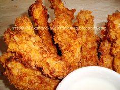 Fâşii de pui crocante - Crispy Strips Chicken Strips, Crispy Chicken, Pavlova, Yummy Food, Yummy Yummy, Foodies, Cooking Recipes, Meat, Homemade Food