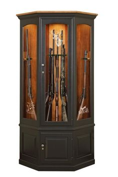 Amish Corner Gun Safe Cabinet - This corner gun safe is handcrafted by an Old Order Amish woodworker who specializes in gun cabinets.  Customize the look by choosing your wood, finish, light and etching option on this heirloom gun cabinet.  We are happy to send out wood and finish samples to help you match this Amish furniture up to existing furniture or help you finalize your decision.
