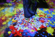 teamlab mifuneyama, flowers grow and dissipate beneath visitors' feet as they meander through the bathhouse image © designboom Japan Places To Visit, Stage Design, Exhibit, Around The Worlds, Flowers, Artwork, Painting, Art, Beautiful Images