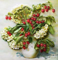 Купить Картина лентами Калинка -малинка - зеленый, калина, малина, букет лентами, Вышивка лентами