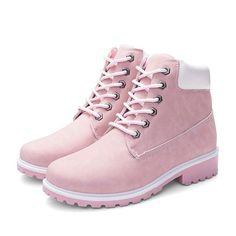 78c0cc91e60 Women's Lace Up Low Heel Work Combat Boots Waterproof Ankle Bootie