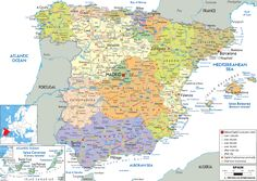 Map of Spain - a southern European country. Map includes cities, towns and provinces.
