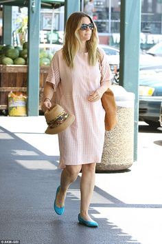 California style: Drew Barrymore looked pretty in pink as she stepped out for some grocery shopping in West Hollywood on Sunday