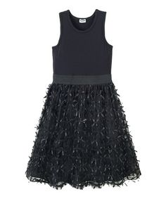 Another great find on #zulily! Black Bow Dress - Girls by RUUM #zulilyfinds