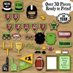 Football Photo Booth Props and Party Decorations - Printable - Birthday Party Decorations - Pdf and Football Crafts, Football Themes, Football Photos, Football Banquet, Locker Decorations, Photo Booth Props, Birthday Party Decorations, Party Planning, Birthdays