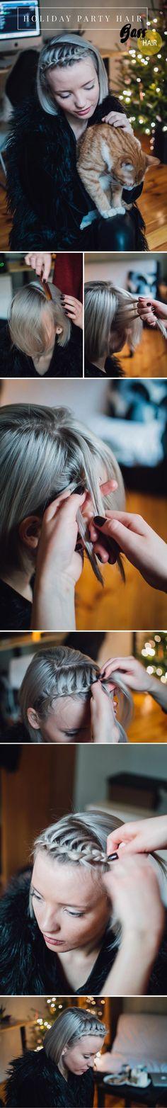 HOLIDAY PARTY HAIR TUTORIAL Short hair tutorial, braid, front braid, short hairstyle, grey hair, white hair