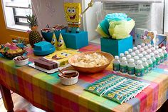 We included this fun SpongeBob Party in our Parties We Love post. That's a great character cake and the pineapple is a nice addition. More pics plus Dora the Explorer and Saved By the Bell themed parties in this post.