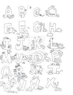 Coloring Printable Animal Alphabet Pages Free Colori And Letter H Pictures Kinder 44