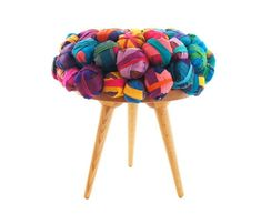 Istanbul-based designer Meb Rure has created a recycled silk chair, ottoman and stool. This ecological furniture family consist of chair, ottoman and stool Nachhaltiges Design, Design Studio, Design Ideas, Ottoman Footstool, Chair And Ottoman, Ottomans, Armchair, Recycled Furniture, Colorful Furniture
