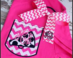 CHEER Monogram Pocket Tee YOUTH TODDLER Megaphone Cheerleader Chevron Pocket tshirt tee