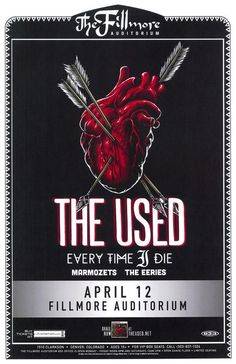 Concert poster for The Used and Every Time I Die The Fillmore Auditorium in Denver, Colorado in 2015. 11x17 card stock.