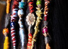 Dreads Hair Wraps and beads handmade bohemian hippie Dreadlocks tribal Falls Boho Extensions