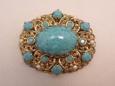 Vintage W Germany Speckled Turquoise Stone by Lavendergems on Etsy, $16.00