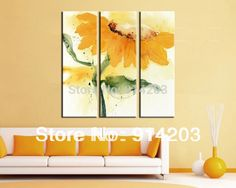 Nice Golden sunflower oil painting for home room house hotel living room decoration masterpiece fashion pictures three panels(China (Mainland))