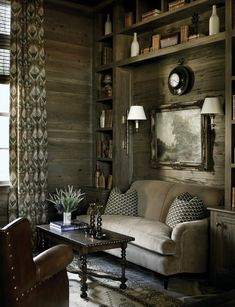 This living space is updated is a modern rustic styling using weathered wood, rather than traditional pine.