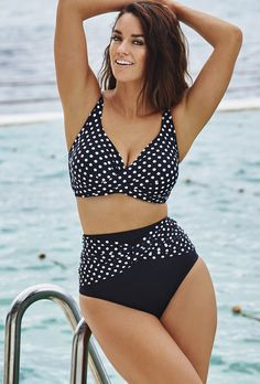 Pin for Later: The 1 Swimsuit Style That Looks Good on Everyone Swimsuits For All Sexy Dot Halter Bikini Plus Size Bikini Bottoms, Women's Plus Size Swimwear, Curvy Swimwear, Trendy Swimwear, Halter Bikini, Bikini Swimwear, Curvy Bikini, Sexy Bikini, Plus Size Bikini