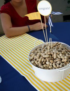 Graduation parties are all about saying congratulations. Table graduation centerpieces really add the festive atmosphere. The design of your centerpiece will depend upon the type of party you are having. Many new graduates select a theme like. Graduation Open Houses, Graduation Party Themes, College Graduation, Grad Parties, Graduation Ideas, Graduation 2015, Masculine Centerpieces, Party Centerpieces, Centerpiece Ideas