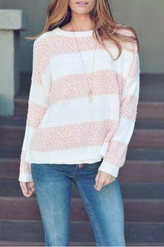 ↠{@AlinaTomasevic}↞ :Pinterest <3 | Pink Striped Sweater