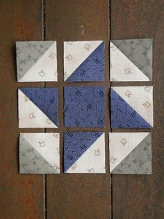 Quilts Heartspun quilt block ~ Pam Buda Nine Patch Variation Make adorable patchwork placemats using pre-cut fabric squares to grace your table. Patchwork Placemats Sewing Tutorial - Easy and Free! Simple block construction - different looks can be achie Star Quilt Blocks, Star Quilts, Mini Quilts, Quilting Tutorials, Quilting Projects, Quilting Designs, Triangle Quilt Tutorials, Diy Quilt, Easy Quilts