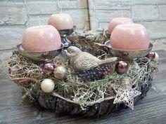 Adventskranz,verspielter+Traum+in+rosa-grau-silber+von+...die+mit+den+Blumen+tanzt...+auf+DaWanda.com