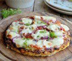 Low-Calorie Cauliflower Crust Pizza - it's really, really delicious!  240 cals for 1/2 a pizza.