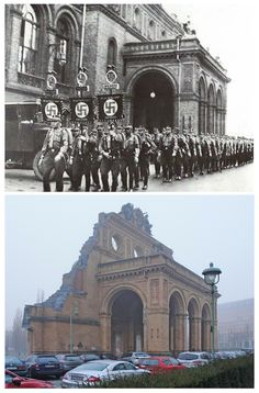 Kreuzberg, Berlin 1939/2017; Anhalter Bahnhof then and now. Picture taken from Stresemannstraße.
