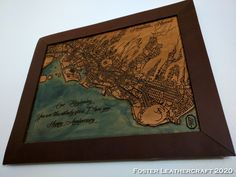 Scale Map, Unique Gifts, Best Gifts, Custom Map, Leather Craft, The Fosters, Hand Carved, Carving
