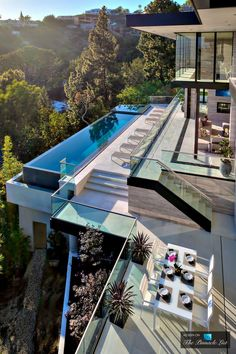 Outdoor dining area overlooks the green landscapes of West Hollywood