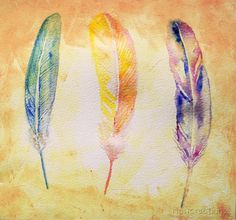 Feathers watercolor Painting Printable Fine art  by NewCreatioNZ, $20.00