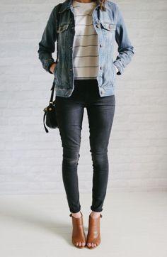 Denim jacket, striped tee, black skinnies, cognac boots, black bag