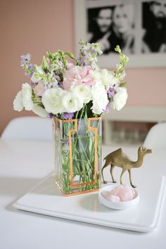 We made a cute copper tape vase to hold these gorgeous flowers from @thebouqs