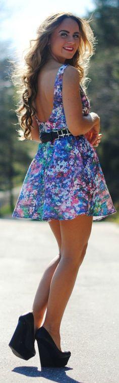 Blue Floral Open Back Skater Dress