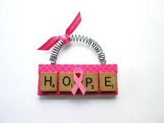 Hope Fight  Breast Cancer Scrabble Tile by ScrabbleTileOrnament