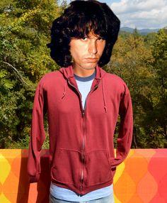vintage 70s zip sweatshirt HOODIE jacket hooded by skippyhaha