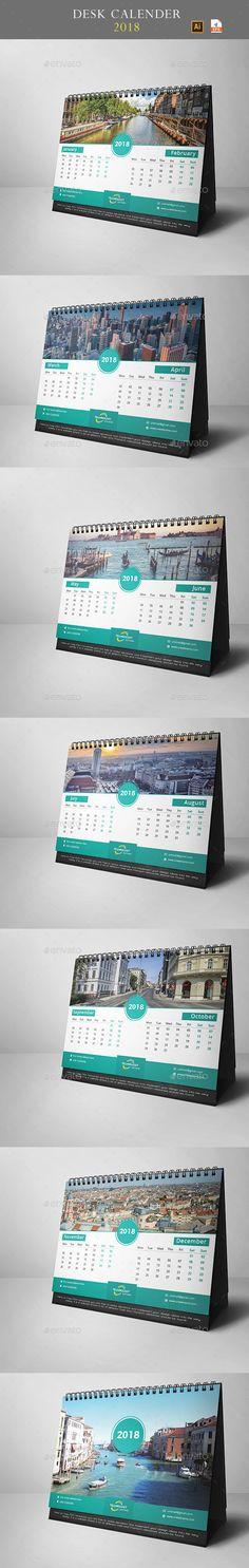 Desk Calendar 2018 - #Calendars #Stationery Download here: https://graphicriver.net/item/desk-calendar-2018/20008480?ref=alena994