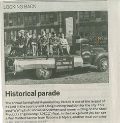 Steel Products float in Springfield Memorial Day Parade (My daddy worked for SPECO for many years)