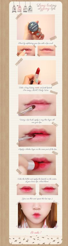 Petit Poppy: Tutorial ~ Long lasting ulzzang lips This is some tips for ulzzang makeup! Kawaii Makeup, Cute Makeup, Lip Makeup, Makeup Tips, Makeup Ideas, Korean Makeup Tutorials, Beauty Tutorials, Ulzzang Makeup Tutorial, Nail Tutorials