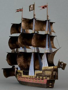 a free pirate ship paper model.
