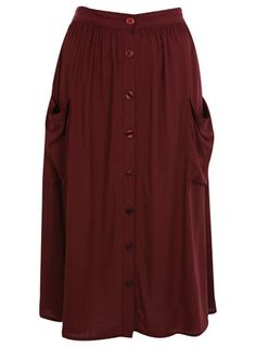 Burgundy Midi Skirt - View All - Sale & Offers - Miss Selfridge US ($20-50) - Svpply