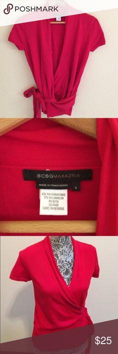 SALE! BCBGMaxAzria Wrap Top (S) BCBGMaxAzria lipstick red wrap top. size  small b7f050af5