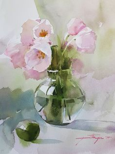 Pink n Green Beautiful watercolour style