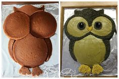 how to make an owl cake with regular round cake tins