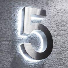 Hausnummer Edelstahl LED