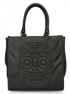 """Floral Skull"" Tote Handbag by Loungefly (Black)"