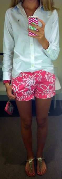 Looks like I'm in love<3. Lilly Pulitzer shorts, a Ralph Lauren button down, and sandals.
