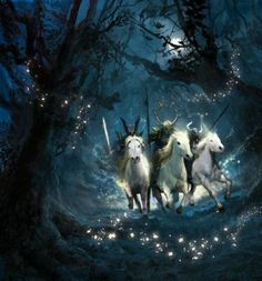 The story of the Wild Hunt is a tale found throughout both Celtic and Norse folk lore. In all the tales, the hunters are generally the same: a phantasmal, spectral group of huntsmen with the accoutrements of hunting (horns, whips, bow and arrow, etc), with horses and hounds in mad pursuit across the night skies or along the ground, or just above it.