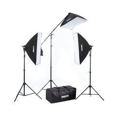 "StudioPRO Fluorescent Two 5 Socket Heads 20""x28"" Softbox With EZ Setup 20""x28"" Softbox Boom Kit, 2500 Watt Output"