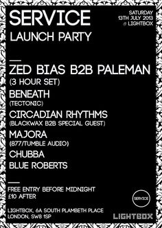 Service Launch Party | Lightbox | London | https://beatguide.me/london/event/lightbox-service-launch-party-with-zed-bias-b2b-paleman-20130713#poster